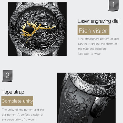 3D Engraved Dragon Luxury Watch