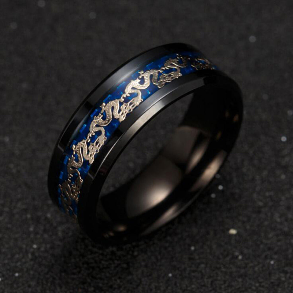 Blue Black Dragon Stainless Steel Ring The Dragon S Throne