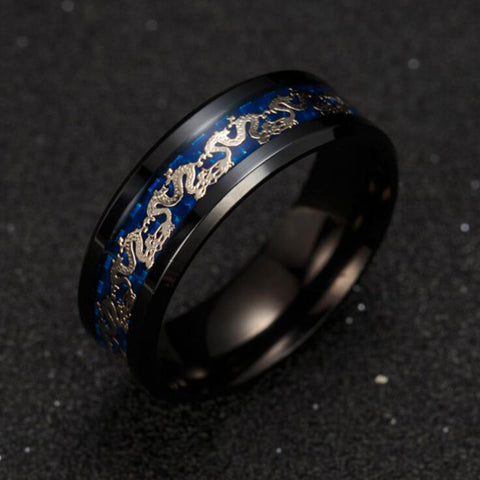 Blue Black Dragon Stainless Steel Ring