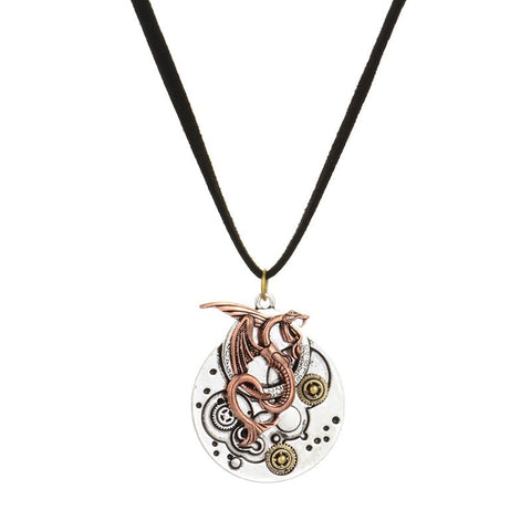 Dragon & Gear Pendant Necklace