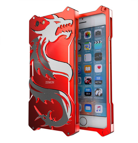 Dragon Shockproof Metal Back Cover Cases For I phones