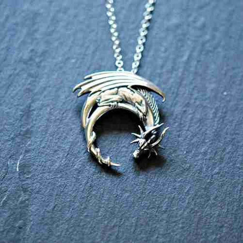 Winged Dragon on Moon Pendant
