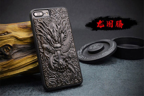 Luxury Carved 3D Dragon Ebony Wood Case for iPhone