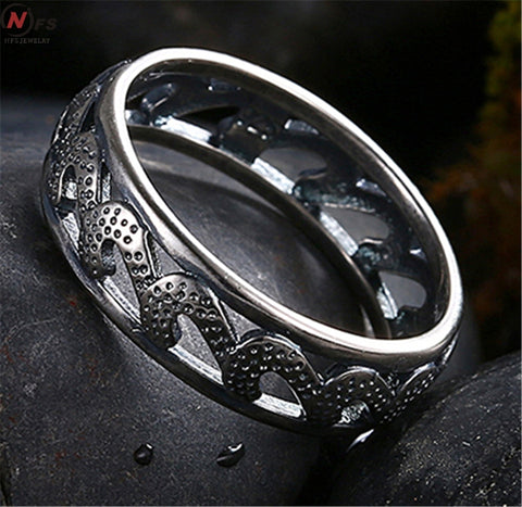Unique Vintage Dragon Silver Pattern Ring