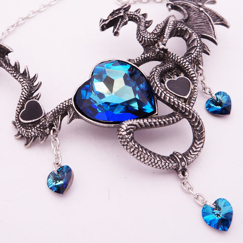 Crystal Heart Charms Dragon Choker