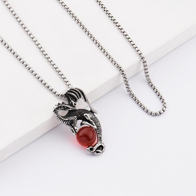 pendant chain for steel glass in new item necklace necklaces blue from jewelry mens red womens style fashion dragon stainless chinese
