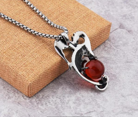 Stainless Steel Pendant Dragon Necklace With Red/Blue Stone