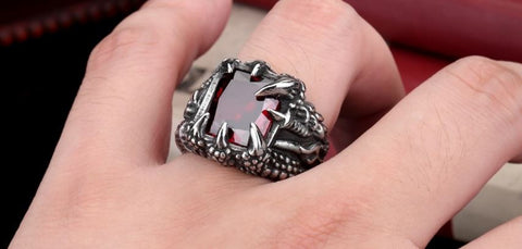 Dragon Claw Ring With Red/Blue/Light Blue/Black Stone