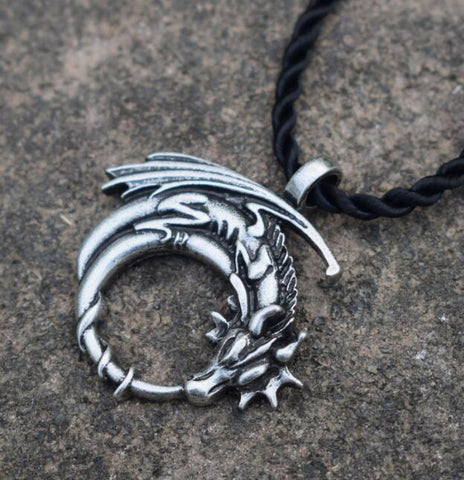 Winged Dragon on Moon Necklace
