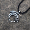 Image of Winged Dragon on Moon Necklace