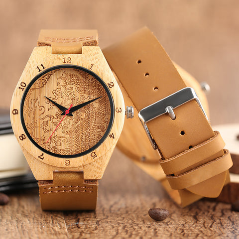 Natural Bamboo Handmade Dragon Design Watch