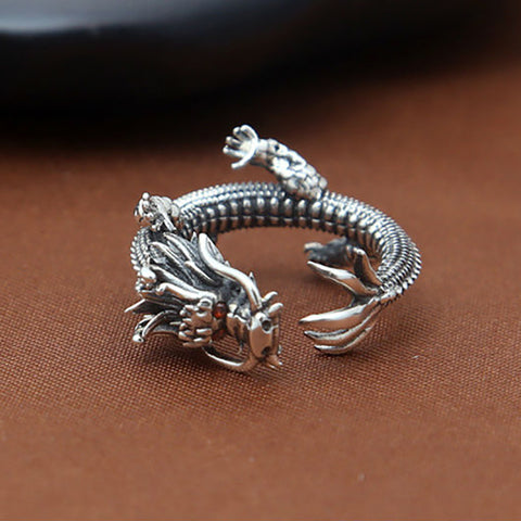 Solid 925 Sterling Silver Dragon Ring