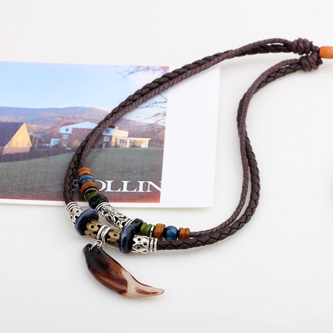 Vintage Leather Rope Dragon Tooth Pendant Necklace