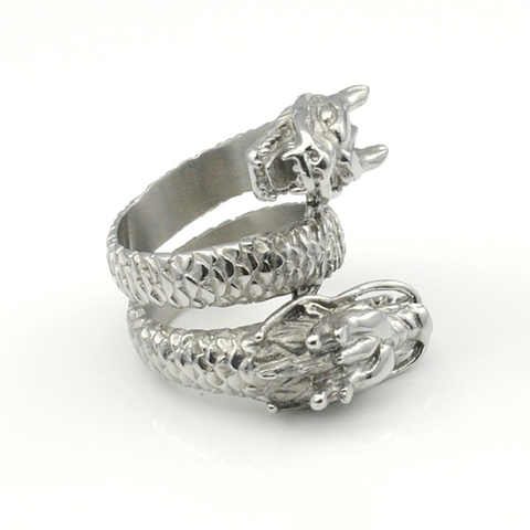 Double Dragon Head Stainless Steel Ring
