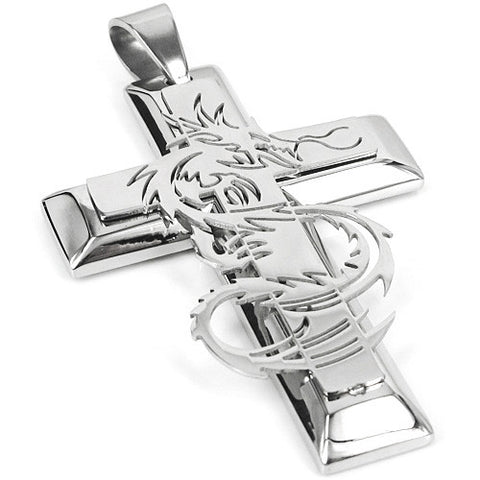 Stainless Steel Dragon Cross Pendant