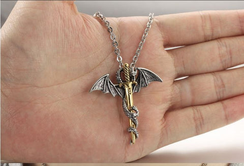Dragon & Sword Pendant Necklace (Stainless Steel)