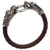 Image of Tibetan Vintage Leather Silver Dragon Fashion Bracelet