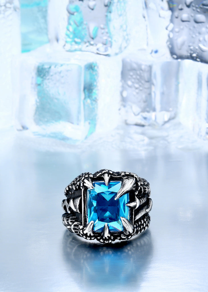 Red Blue Stone : Dragon claw ring with red blue light black stone
