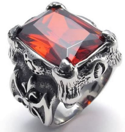 Stainless Steel Cubic Dragon Claw Ring Blue/Red Color Stone