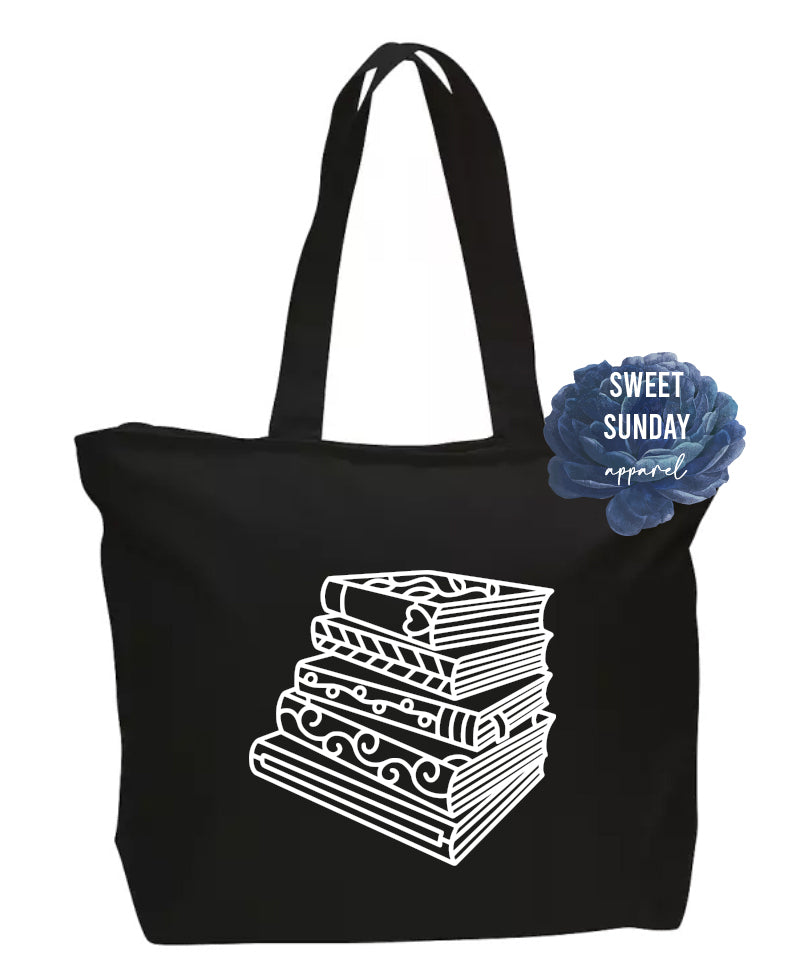Books Zippered Tote