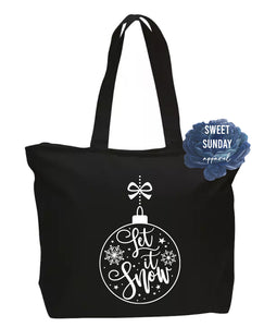 Let It Snow Zippered Tote