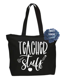 Teacher Stuff Zippered Tote