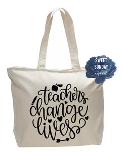Teachers Change Lives Zippered Tote