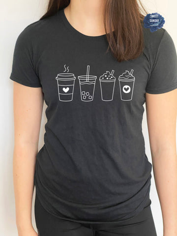 Coffee Cups Fitted Tee