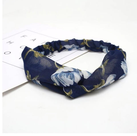 Dark Blue Floral Headband