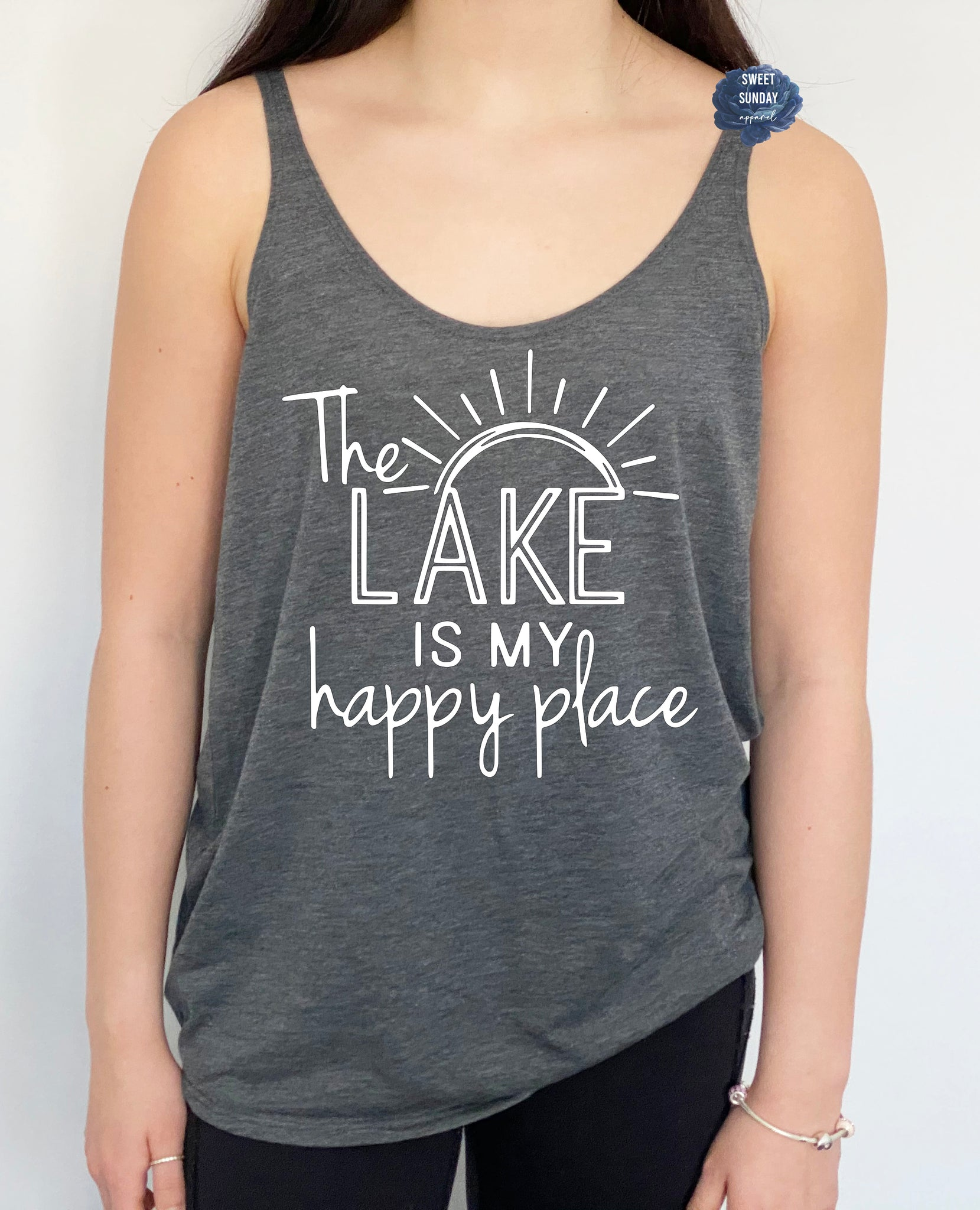 The Lake is My Happy Place Slouchy Tank