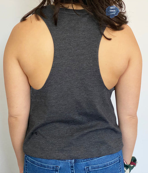 Hustle For That Muscle Cropped Racerback