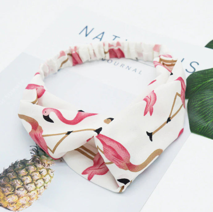 White Flamingo Floral Headband