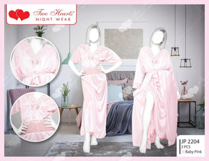 2 PIECE LONG SEXY NIGHTY WITH GOWN-Export Fit