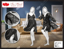 Load image into Gallery viewer, 2 PIECE SILK NIGHT DRESS WITH CONTRAST NET GOWN - (1154)-Export Fit