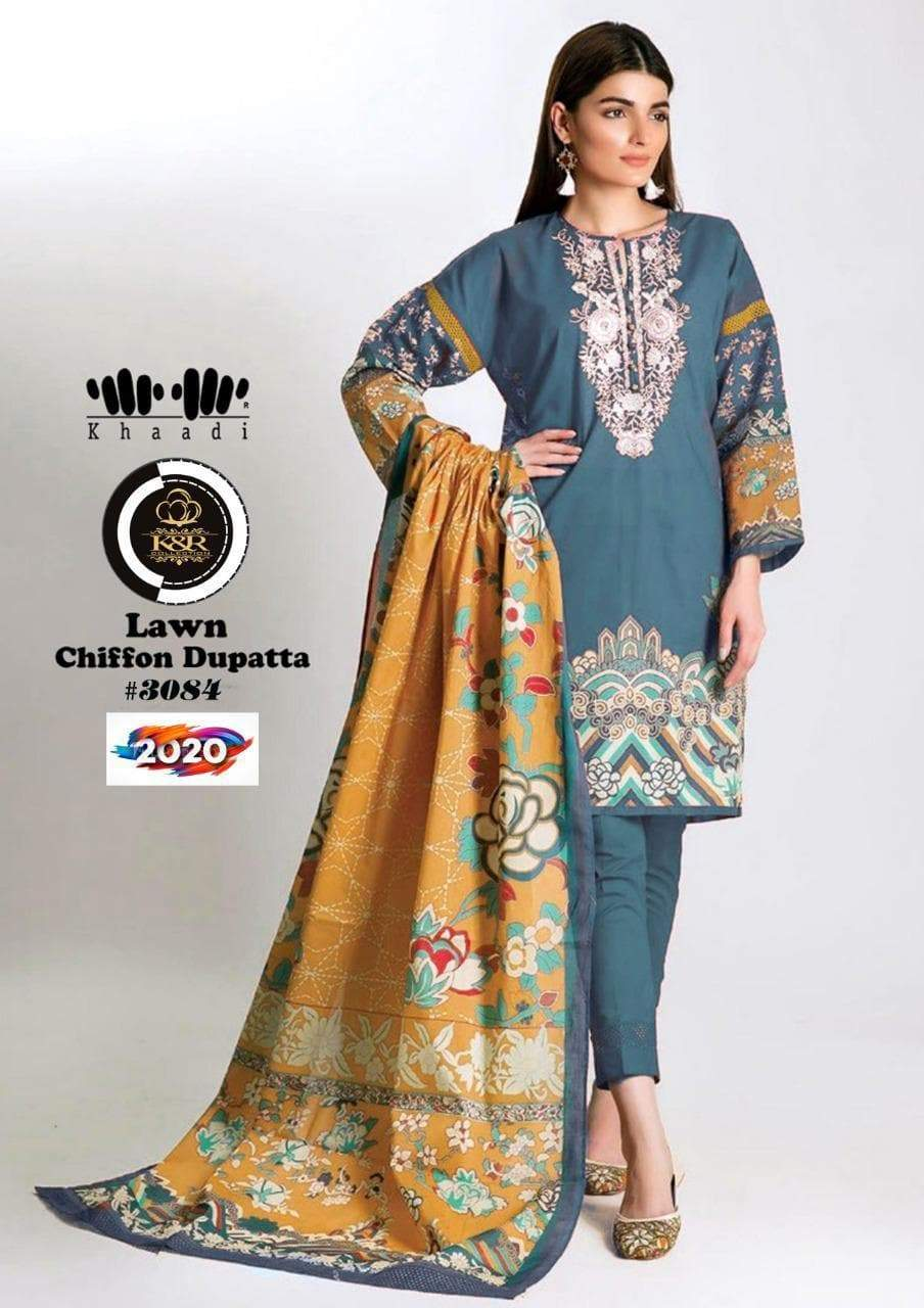 3 PC Unstitched Lawn Suit Chiffon Dupatta-Export Fit