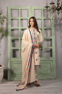 3 PC Unstitched Lawn Suit Mystic Mist-Export Fit