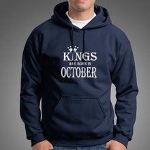 Load image into Gallery viewer, Kings Are Born In October Cotton Hoodie For Mens-Export Fit