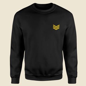 Army Stripes Black Sweatshirt For Men-Export Fit