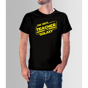 Best Teacher In The Galaxy - Black Cotton T-Shirt For Men-Export Fit