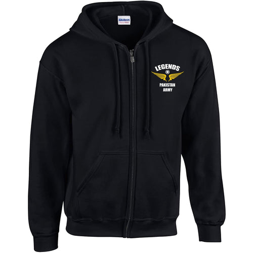 Legends Pakistan Army Black Zipper Hoodie-Export Fit