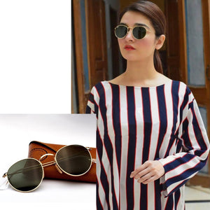 Round Aviator Sunglasses With Box & Accessories-Export Fit