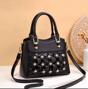Soft Leather Flower Long Belt Hand Bag for Women-Export Fit