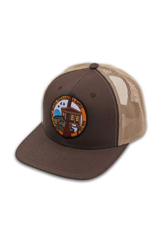 Snapback Hat with Temple Patch - Brown