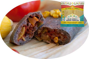 vegan blue corn and veggie tamale