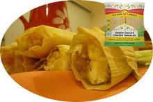 "Load image into Gallery viewer, green chile and cheese (""green corn"") tamale"