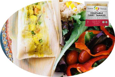 vegetable curry tamale served with fresh salad