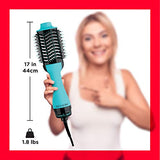 REVLON One Step Hair Dryer And Volumizer Hot Air Brush, Turquoise
