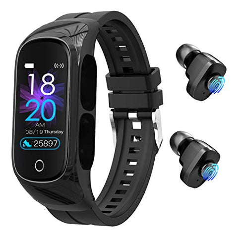 Earbuds with Microphone Smart Watch - 8 in 1 Touch Control Smart Bracelet TWS Earphones Dual Headset Call,Photo Control, Blood Pressure, Mono Mode Heart Rate Monitor for Sport, Men and Women