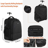 Backpack with Wheels, Large Rolling Backpack for Men Women, Water Resistant Business Travel Carry on Wheeled Backpack Bag, Durable Roller College School Computer Bookbag Fits 15.6 Inch Laptop, Black