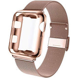 GBPOOT Compatible for Apple Watch Band 38mm 40mm 42mm 44mm with Screen Protector Case, Sports Wristband Strap Replacement Band with Protective Case for Iwatch Series 6/SE/5/4/3/2/1,42mm,Pink Gold